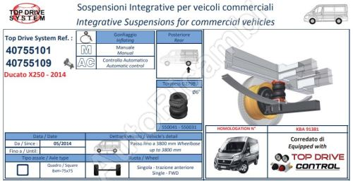 Additional air suspension Fiat Ducato 250 2006 kit with pressure gauge