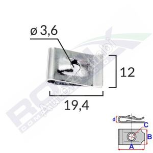 Mounting clip 3,6mm /  25 pcs in a package