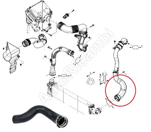 Charger Intake Hose for Renault Trafic 2014-2019 1,6 from intercooler to throttle